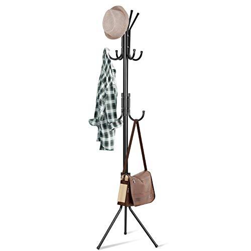 INTEY Garderobenständer Stabil Metall Kleiderständer Kleiderstange Garderobe mit 11 Haken Höhe 173 cm, passt gut am Eingang, im Flur, Wohnzimmer, Schlafzimmer Büro (schwarz) -