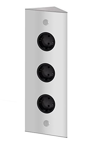 THEBO 3-fach Energie-Ecksäule ST 3007/320/3 in Aluminium/Ecksteckdosen /...