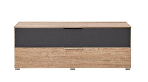 7-tlg Wohnwand in Eiche Nb./grau mit Akustik-Fächern und LED-Beleuchtung, Gesamtmaß B/H/T ca. 292/160/51 cm - 6