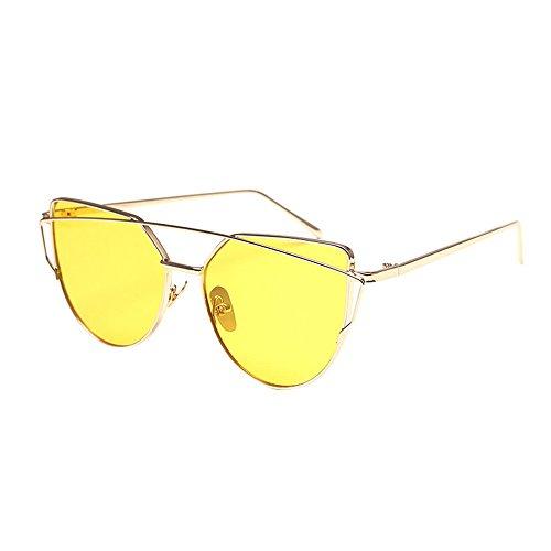 WooCo Pilotenbrille für Herren Damen Polarisiert, Heißer Verkauf Fashion Twin-Beams Classic Metallrahmen Cat Eye Brillen Sonnenbrillen Brillen(D-C,One size)