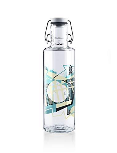 soulbottle 0,6l Trinkflasche aus Glas • verschiedene Motive, Made in Germany, vegan, plastikfrei, BPA-frei, Glastrinkflasche, Glasflasche (Aquädukt)