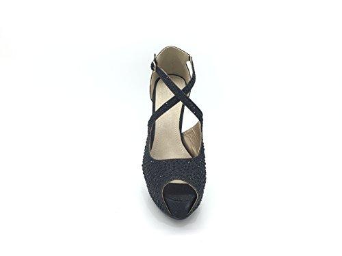 CHIC NANA . Chaussure Femme Mode Escarpin strass diamant fantaisie, plateforme bout ouvert. Noir