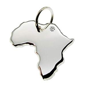 AFRIKA Kettenanhänger aus 925 Silber mit Brillant am Wunschort