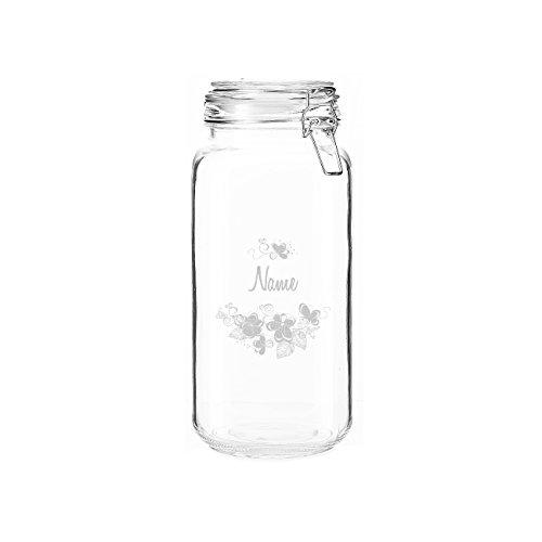 Herz & Heim® 2 Liter Aufbewahrungsglas Blumen mit gratis Gravur des Namens