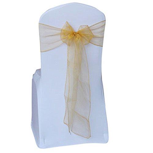 xbwwt Hochzeit Dekoration Mehrfarbig Organza Stuhl Bezug Bow Ties in Event Party Supply Stuhl Schärpen, Organza, Gold, 20 * 280cm
