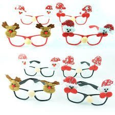4 Seasons Christmas Santa Party Prop Eye Mask Sunglass Frame Accessories (Assorted Design) - Pack of 5