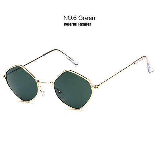 Li Kun Peng Kleine Sonnenbrille Frauen Vintage Metall Hexagon Klar Rosa Sonnenbrille Männer Retro Brillen Uv400 Brillen,C6Green