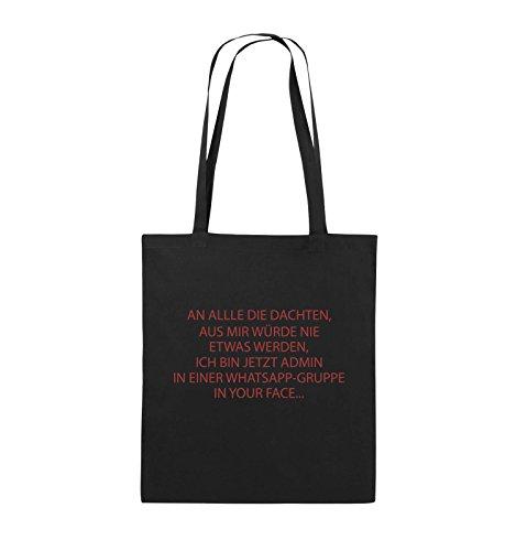 Comedy Bags - ADMIN WHATSAPP GRUPPE - Jutebeutel - lange Henkel - 38x42cm - Farbe: Schwarz / Silber Schwarz / Rot