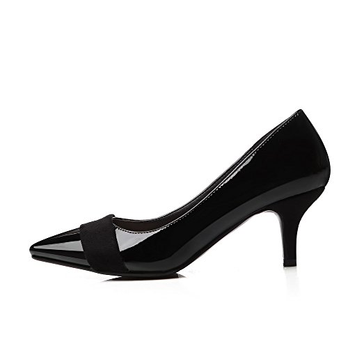 VogueZone009 Femme Pointu Tire Microfibre Couleur Unie à Talon Correct Chaussures Légeres Noir