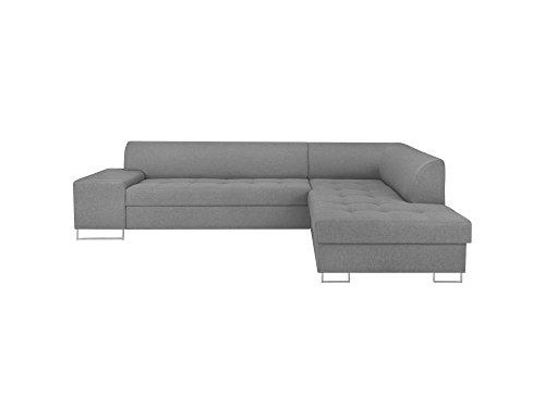 Cosmopolitan-Design RC_ORLANDO104 CANAPÉ d'angle Droit Convertible Tissu, Gris Clair, 278 x 220 x 74