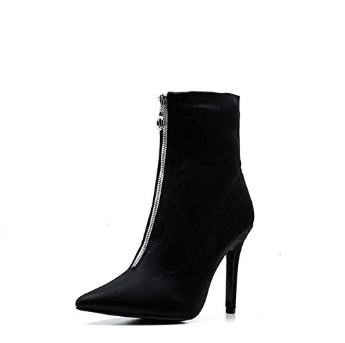 Frauen Boots Ladies Zipper Pointed Toe Stiletto Red Black High Heels Sexy Ankle Frauen Stiefel Party Shoes Platform Faux Lace Boots,Schwarz,35EU -