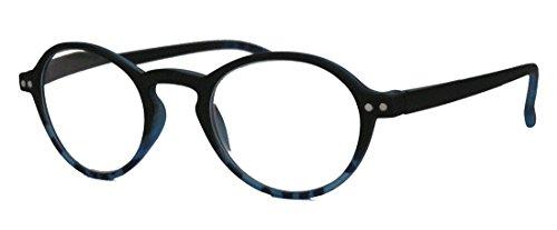Klassische filigrane Retro Lesebrille Damen Herren Hornbrille im Vintage Stil OVR (49 schwarz/blau 2.5 (Look Nerd Kostüm)