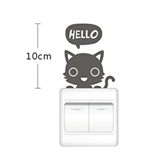 Ahaccw(TM) Cute Cat Vinyl Wall Swith Sticker for Children's Room Bedroom