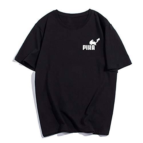 FLY BOY Sommer Herren Rundhals T-Shirt Pokemon T-Shirt Pikachu Kurzarm Pika Bedruckte Baumwolle Komfortables Herrenhemd,Black,L