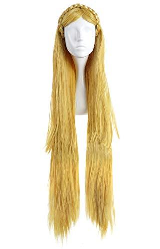 CoolChange Legend of Zelda Perücke von Prinzessin Zelda, Blond, 100cm, Haarkranz (Prinzessin Zelda Kostüm Cosplay)