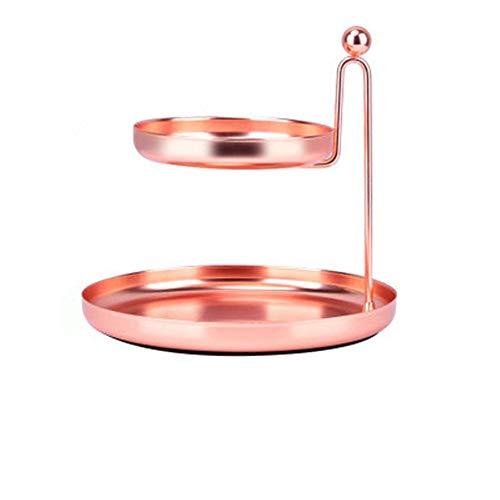 NBLYW Doppel Schmuck Tablett, 2 Tier Zubehör Schreibtisch Veranstalter, Halsketten Armbänder Ringe Ohrringe Halter, Metalldraht Korb Brief Tray Cute Office Cubicle Decor,Pink (Schreibtisch-tier Tray)