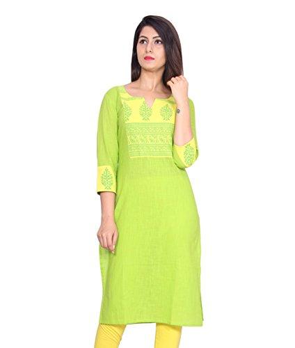 GMI Casual Cotton Rajasthani Printed Women Kurti (Green, Medium)