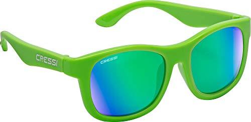 Cressi Teddy Sunglasses, Occhiali da Sole per Bambino Unisex Fluo/Lenti Specchiate Verde, 3-5 Anni
