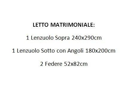 Completo Lenzuola Letto Matrimoniale 100% Cotone