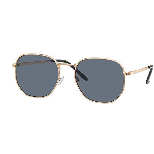 YUHANGH Schwarzes Quadrat Sechseckige Sonnenbrille Männer Flache Linse Sonnenbrille Für Männer Spiegel Männliche Sonnenbrille Mode