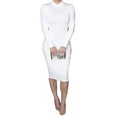 ALAIX - Atractivo vestido de cuerpo entero para mujer, falda con manga larga, cuello alto y largo por debajo de las rodillas