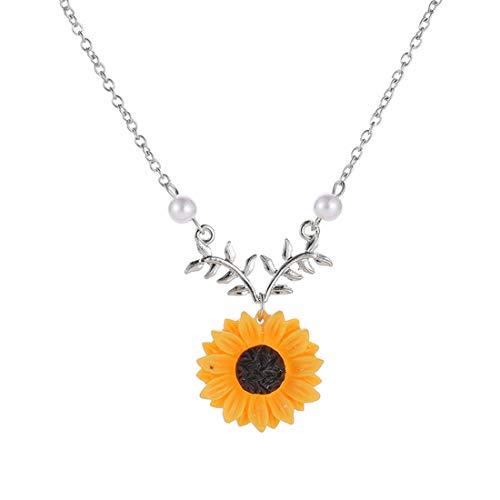Gefälschte Perlenkette - LGJJJ Sunflower Halsketten Schöne Einstellbare Frauen