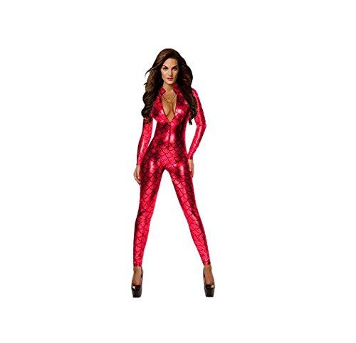 Damen Metallic Fisch-Skala-Muster-Overall Playsuit Catsuit Bodysuit Clubwear Kostüm (Medium, Rot) (Kostüm Catsuit)
