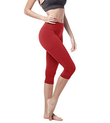 Lapasa donna capri leggings 3/4 allenamento opaco yoga fitness spandex palestra pantaloni l02 (s/40(vita 64-74 cm), rosso super opaco)