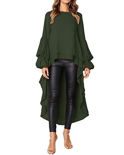 AUDATE Women Irregular Ruffles Shirt Long Lantern Sleeve Sweatshirt Pullovers Tops Blouse