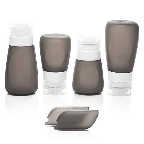 Set bottigliette da viaggio in silicone - contenitori per liquidi da viaggio, a prova di perdita, con beauty case trasparente. trasporta il tuo shampoo, crema e balsamo preferiti nel bagaglio a mano.