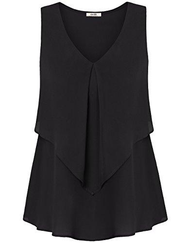 Black Tank Top, Vivilli Womens Sleeveless Tuniken zu tragen mit Leggings Casual Office Workout Bluse Plus Size Chiffon Shirts Schwarz XXL (Plus Shorts Workout Womens)