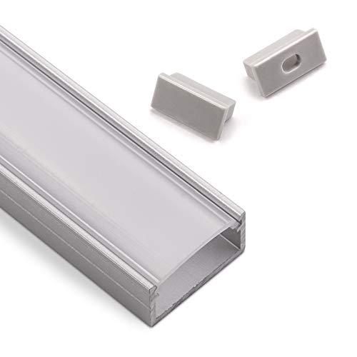 LED Alu Profil-PH1 (2000 x 18 x 8,5 mm) für breite LED Stripes bis 16 mm (z.B. für Philips Hue LightStrip) Aufbauprofil mit opaler Abdeckung und Endkappenset SO-TECH® -