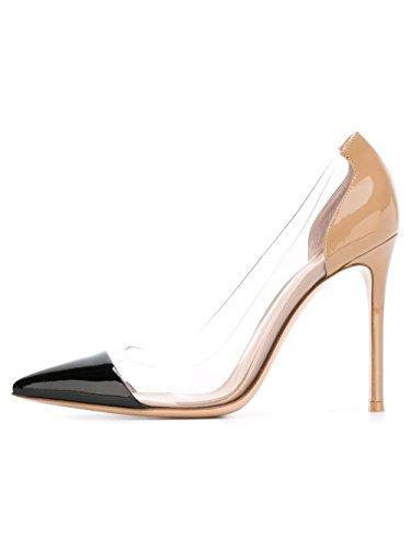 DYF Frauen nackt Scharfe feine Schuhe High Heel Transparent Licht Groß, Schwarz + Nackt, 40
