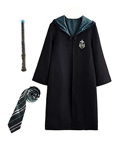 Fanessy. Kinder Erwachsene Umhang Kostüm Für Harry Potter,Fancy Dress Cosplay Outfit Set Zauberstab Krawatte Schal Brille Hut Hemd Rock Karneval Verkleidung Fasching Halloween - Billig Harry Potter Kostüm