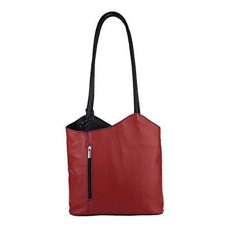 OBC Made in Italy Ledertasche Damentasche 2in1 Handtasche als Rucksack oder Umhängetasche/Schultertasche Tablet/Ipad mini bis ca. 10-12 Zoll 27x29x8 cm (BxHxT) (Dunkelblau (Lackleder)) Rot-Schwarz