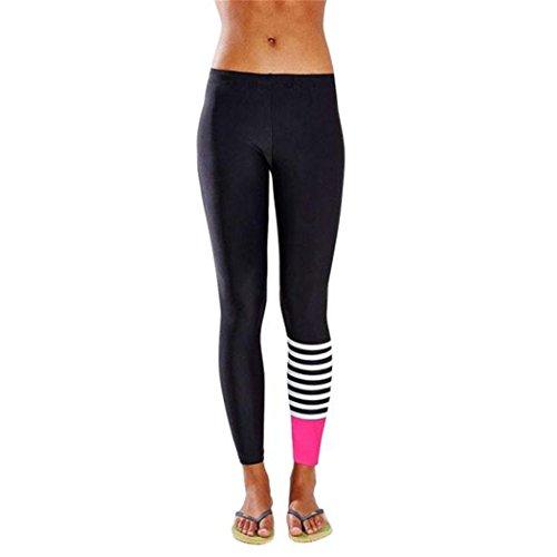 Italily-Yoga donne in corso di ballo pants Pinocchietti Leggings a vita alta stirata (Size:M, Rosa Caldo)
