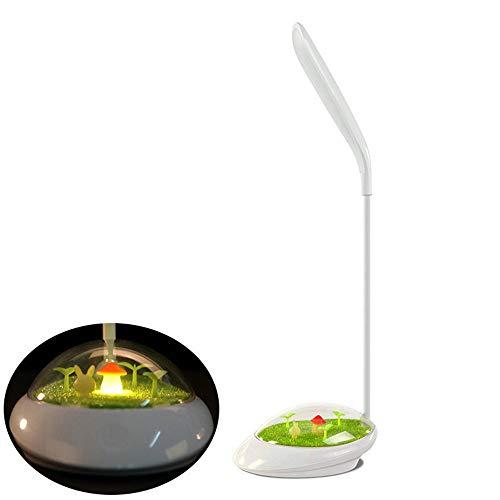 SSXZ schöne Led Schreibtisch Lampen Usb Aufladen Gras grün Mikro-Landschaft dimmbare Tischleuchte flexible Multi-Winkel-Anpassung Nachtlicht weiß
