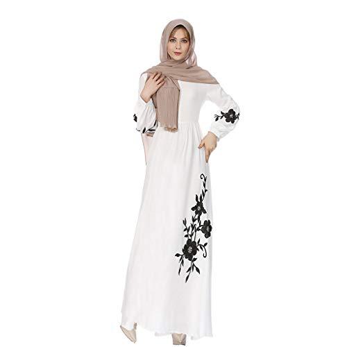 Qu-Hsrkocb Musulmán islámica Abaya Vestido De Túnica Vestido de Manga Larga de Gasa Kaftan Mujer Arabe Caftan Mujer Largo (Blanco, L)
