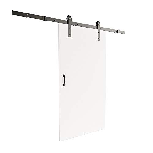 inova Holz-Schiebetür offene Schiene 775 x 2065 mm Weiß Alu Komplett-Set mit Lauf-Schiene und Griff in schwarz - Antik-weiß, Rustikales Holz