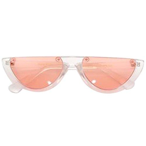 ECMQS Kühle Trendy Halben Rahmen Randlose Katzenaugen-sonnenbrille, UV 400 Schutz Sonnenbrille (Transparent Deep Orange) (Orange Cat-bild-rahmen)