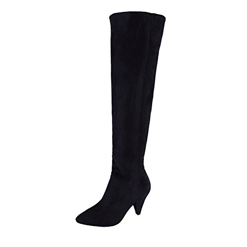 VJGOAL Damen Stiefel, 8CM Damen Solid Flock Overknee Stiefel High Heel Stiefel Flock Party Winter...