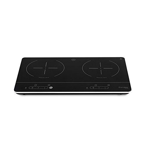 Doppel-Induktionskochfeld (3500 Watt) von Springlane Kitchen randloser Glaskeramik Induktions-Herd mit 2 Kochplatten extra dünn und tragbar mit Touch Control Steuerung, LED Display und Timerfunktion