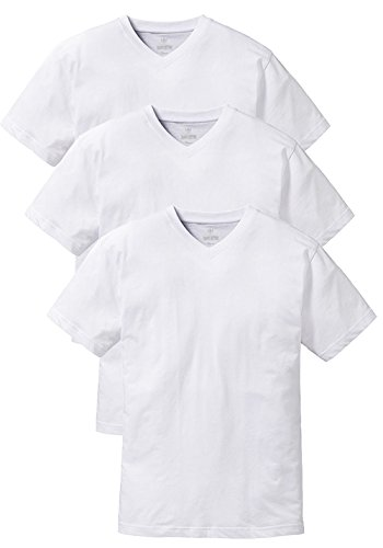 Franco Bettoni 3er-Pack T-Shirts in Weiß, V-Ausschnitt T-Shirt, Unterzieh-Shirts für Männer, Kurzarm-Shirts, Herren-Oberbekleidung, klassisches Basic T-Shirt, Größe M - XXXXL