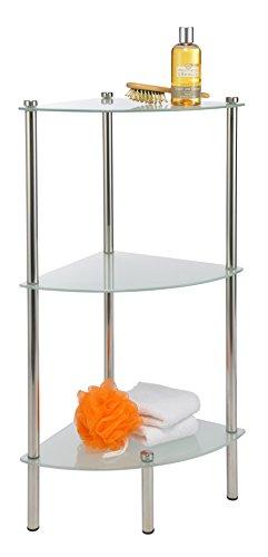 Badregal mit 3 Glasböden Eckregal Metallregal Badezimmerregal Duschregal Badablage