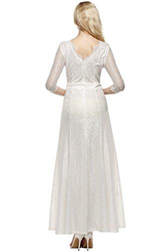 CRAVOG Damen Abendkleider mit Spitzen Bodycon festliche Kleider Cocktail Maxikleid Weiß