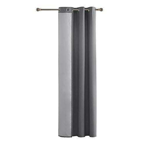 Deconovo tenda termica isolante con occhielli per porta finestre 100% poliestere grigio chiaro 140x260 cm un pannello