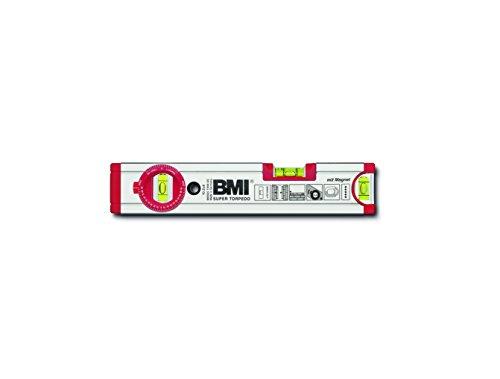 BMI 692025TWM Wasserwaage Ultrasonic, Länge 25 cm, eloxiert, mit Winkellibelle und Magnet