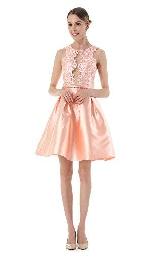 Durchbrochene Stickerei Rundhalsausschnitt ärmelloses Kleid Der Heiße Bohrung Pink
