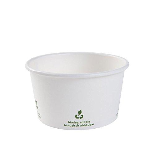 BIOZOYG Nachhaltige Universal Karton Einwegschalen für EIS, Dessert, Fingerfood, Vorspeisen, Snacks I 25 St. Speisebecher weiß mit Icon Druck 300 ml / 12 oz I runde Einwegbecher kompostierbar
