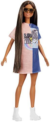 Barbie FXL43 - Fashionistas Puppe im Grafik Stil Kleid mit braunen Haaren und Sonnenbrille, Puppen Spielzeug ab 3 Jahren (Camper Barbie-puppe)